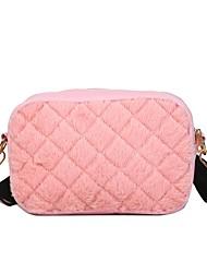 رخيصةأون -نسائي أكياس مخمل حقيبة الكتف لون الصلبة أبيض / أسود / وردي بلاشيهغ