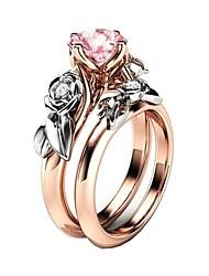 Недорогие -Жен. Кольцо Цирконий 2pcs Розовый Сплав Подарок Повседневные Бижутерия Цветы Милый