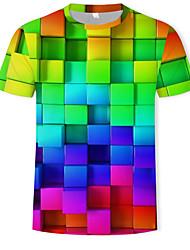 Недорогие -Муж. С принтом Футболка Круглый вырез Геометрический принт / 3D Цвет радуги / С короткими рукавами