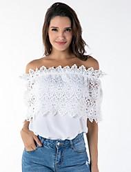billiga -Enfärgad T-shirt Dam Off shoulder Smal
