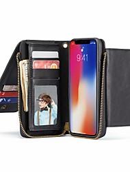 Недорогие -Кейс для Назначение Apple iPhone XS / iPhone XR / iPhone XS Max Кошелек / Бумажник для карт / со стендом Чехол Однотонный Твердый Настоящая кожа