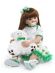 Недорогие -NPKCOLLECTION NPK DOLL Куклы реборн Девочки 24 дюймовый Винил - Подарок Новый дизайн Искусственная имплантация Коричневые глаза Детские Девочки Игрушки Подарок