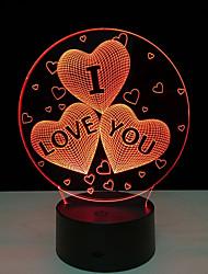 Недорогие -Акриловые 7 изменение цвета USB зарядка 3d сердце я тебя люблю светодиод ночной свет с 3d световой декор настольная лампа ночник 5 В