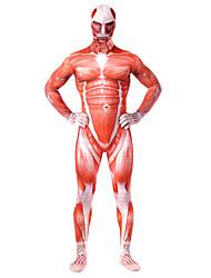 preiswerte -Zentai Anzüge Ganzkörper Anzug Cosplay Erwachsene Cosplay Kostüme Halloween Rote Print Elastan Lycra® Herrn Halloween Karneval Maskerade