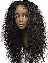 Недорогие -Натуральные волосы Лента спереди Парик Свободная часть стиль Бразильские волосы Кудрявый Черный Парик 130% Плотность волос с детскими волосами Природные волосы Для темнокожих женщин 100