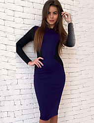 cheap -Women's Basic Bodycon Sheath Dress - Color Block Wine Army Green Royal Blue L XL XXL