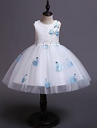 cheap -Kids / Toddler Girls' Vintage / Sweet Animal Sleeveless Knee-length Dress White