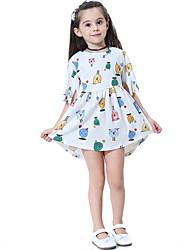 Χαμηλού Κόστους -Παιδιά Κοριτσίστικα Ζώο Στάμπα Φόρεμα Λευκό