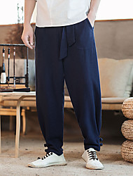 cheap -Men's Harem Woven Pants Black Dark Blue Coffee Sports Solid Color Cotton Pants / Trousers Gym Workout Activewear Lightweight Quick Dry Micro-elastic Loose