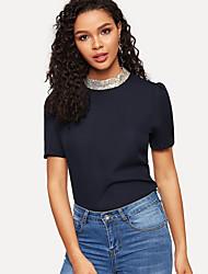 baratos -Mulheres Camiseta Paetês, Sólido