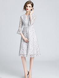 billige -Dame Elegant A-linje Kjole - Ensfarvet, Blonder Knælang