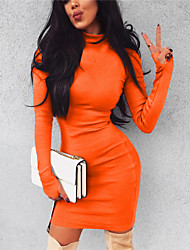 cheap -Women's Basic Street chic Bodycon Sheath Dress - Solid Colored Ruched Green Black Orange S M L