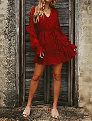 Недорогие -Жен. Оболочка Платье - Однотонный Выше колена