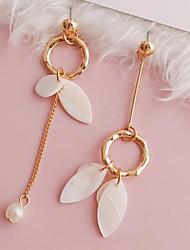 ราคาถูก -สำหรับผู้หญิง ที่ไม่ตรงกัน Mismatch Earrings เปลือกหอย ต่างหู Leaf Shape Stylish เครื่องประดับ สีทอง สำหรับ ทุกวัน 1 คู่