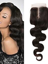 tanie -1 Pakiet Włosy brazylijskie Body wave Włosy naturalne remy Akcesoria do peruk Taśma włosów z zamknięciem 8-20 in Kolor naturalny Ludzkie włosy wyplata Koronka Łatwe ubieranie Nowości Ludzkich włosów