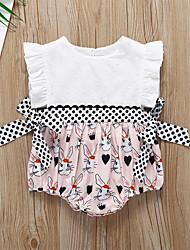 voordelige -Baby Meisjes Actief / Standaard Polka dot / Kleurenblok Strik Mouwloos Katoen bodysuit Wit