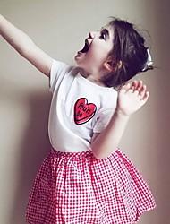 זול -טישירט שרוולים קצרים דפוס בנות ילדים