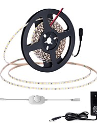 Недорогие -Комплекты света zdm® 5m Печатная плата шириной 5 мм 600 светодиодов 2835 smd 12v 2a Адаптер и диммер on-line холодный белый / теплый белый подходит для автомобилей / самоклеящийся / режущий 100-240 v