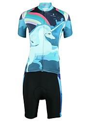 お買い得  -ILPALADINO 女性用 半袖 ショーツ付きサイクリングジャージー - ブルー バイク スポーツ ファッション 衣類