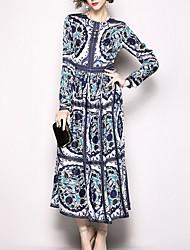 billiga -kvinnors maxi svängklänning blå m l xl xxl