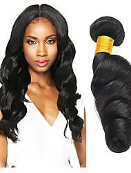 Недорогие -3 Связки Свободные волны 8A Натуральные волосы Необработанные натуральные волосы Головные уборы Человека ткет Волосы Уход за волосами 8-28 дюймовый Естественный цвет Ткет человеческих волос