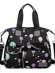 hesapli -Kadın's Çantalar Naylon Tote Fermuar / Çiçekli için Randevu / Dış mekan İlkbahar yaz / Sonbahar Kış Siyah / Mor / Fuşya