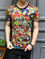 povoljno -Veći konfekcijski brojevi Majica s rukavima Muškarci Pamuk Životinja Okrugli izrez Slim