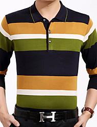 baratos -Homens Camiseta Estampado, Listrado