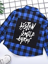 billige -Barn Gutt Grunnleggende Rutet Trykt mønster Langermet Bomull Skjorte Blå
