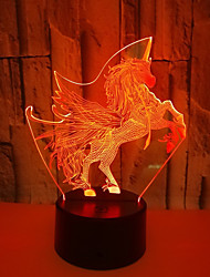 abordables -1pc Flamenco Luz nocturna 3D RGB USB Color variable <5 V