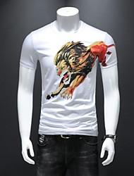 baratos -Homens Camiseta Animal Decote Redondo
