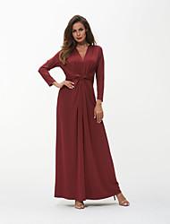 رخيصةأون -المرأة ماكسي فستان سوينغ الخامس الرقبة النبيذ الأبيض ق م ل xl