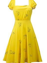 preiswerte -Damen Grundlegend A-Linie Kleid - Druck, Solide Knielang
