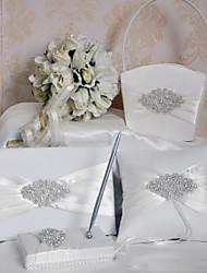 halpa -Wedding Guestbook / Pen Set / Ring Pillow Kanssa Kristalli / Strassi Punomattomat