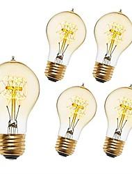 levne -5pcs 40 W E26 / E27 A60(A19) Teplá bílá 2200-2300 k Retro / Stmívatelné / Ozdobné Incandescent Vintage Edison žárovka 220-240 V