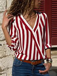 baratos -Mulheres Camisa Social Estampado, Listrado