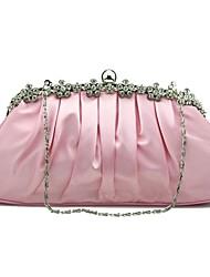 preiswerte -Damen Taschen Seide Abendtasche Kristall Verzierung Volltonfarbe Beige / Purpur / Fuchsia