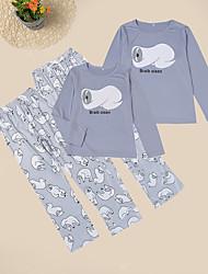 Недорогие -Взрослые Дети Мама и я Активный Классический Повседневные Однотонный Животное Длинный рукав Длинный Набор одежды Серый