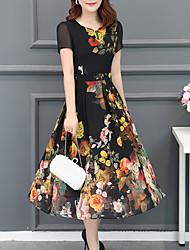 Недорогие -Жен. Большие размеры Шифон Платье - Цветочный принт, С принтом V-образный вырез Средней длины
