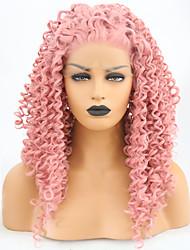 abordables -Perruque Lace Front Synthétique Bouclé Rose Partie libre Rose Cheveux Synthétiques 24 pouce Femme Ajustable / Résistant à la chaleur / Homme Rose Perruque Long Lace Frontale