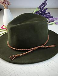 ราคาถูก -ผ้าขนสัตว์รู้สึก หมวก กับ ขอบ 1 ชิ้น สวมใส่ทุกวัน หูฟัง