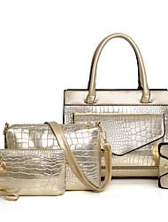 رخيصةأون -نسائي أكياس براءات الاختراع والجلود / PU مجموعات حقيبة 4 قطع محفظة مجموعة سحاب لون الصلبة ذهبي / أسود / أحمر