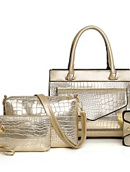 billiga -Dam Väskor Lackläder / PU bag set 4 st handväska Dragkedja Ensfärgat Guld / Svart / Rubinrött
