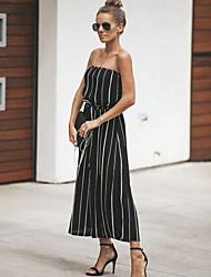 Недорогие -Жен. Уличный стиль С открытыми плечами Черный Широкие Комбинезоны, Полоски M L XL