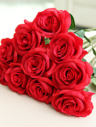 povoljno -Umjetna Cvijeće 10 Podružnica Klasični Europska Simple Style Roses Cvjeće za stol