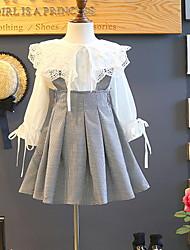 זול -סט של בגדים שרוול ארוך קולור בלוק בנות ילדים