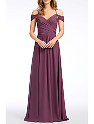 cheap -A-Line Straps Floor Length Chiffon Bridesmaid Dress with Pleats by LAN TING Express