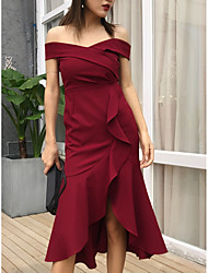 cheap -A-Line Off Shoulder Knee Length Chiffon Bridesmaid Dress with Ruffles by LAN TING Express