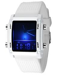 Недорогие -Для пары Спортивные часы Кварцевый силиконовый Черный / Белый Будильник Светящийся Цифровой На каждый день Мода - Белый Черный Один год Срок службы батареи