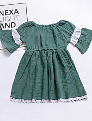 お買い得  -赤ちゃん 女の子 活発的 / ストリートファッション パッチワーク ラッフル / パッチワーク ハーフスリーブ レーヨン ドレス グリーン